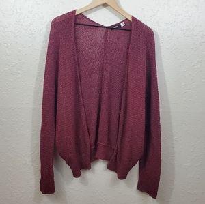 BDG maroon Knit open cardigan